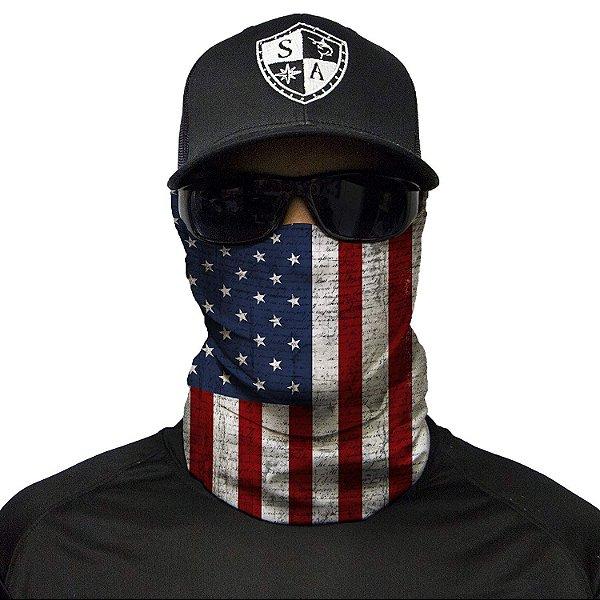 Bandana Balaclava Face Shield Bandeira Americana Estados Unidos Pesca Caça Moto
