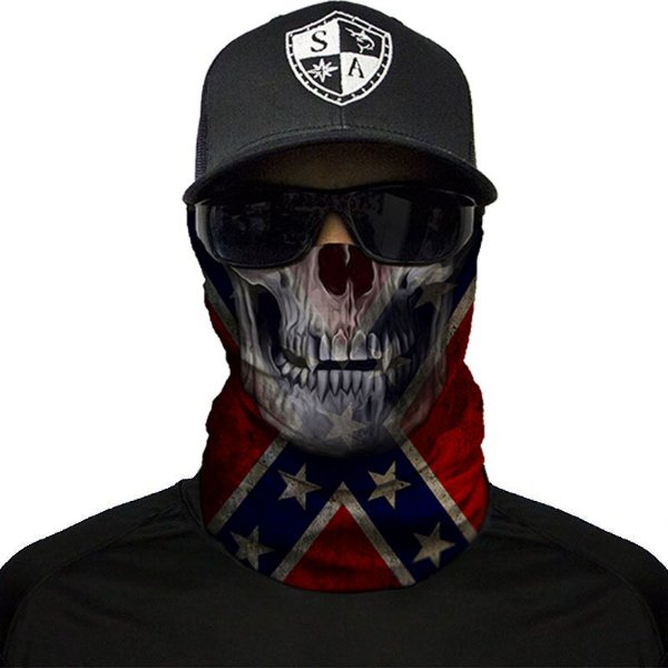 Bandana Balaclava Face Shield Rebel Skull Confederado Caça Moto Pesca Camping