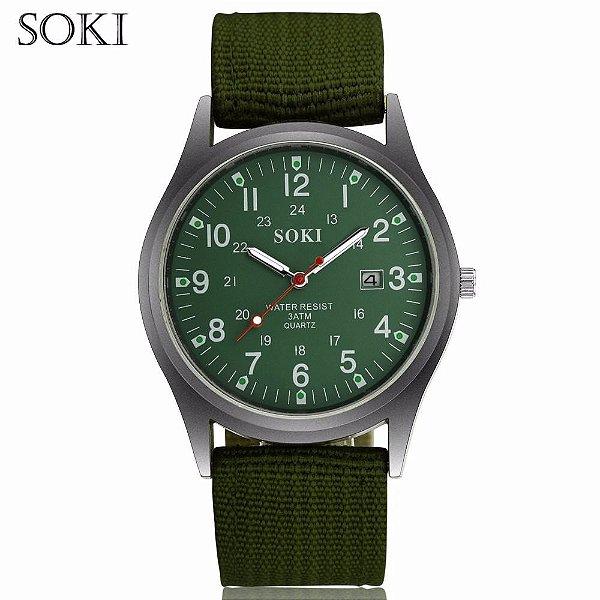 Relógio De Pulso Soki Militar Esportivo - Pulseira Nylon Verde e Fundo Verde