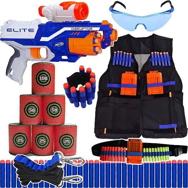Super Kit Arma Nerf Disruptor + Colete + Óculos + Acessórios + 90 Dardos