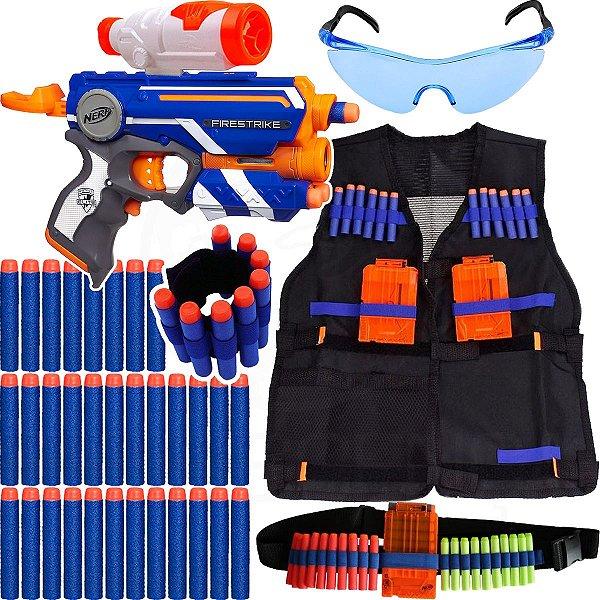 Kit Lançador Firestrike Nerf + Colete + Acessórios + 50 Dardos Bala