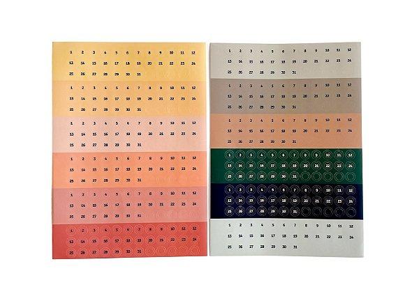 Marcadores Adesivos Numéricos (12 cores/12 meses)