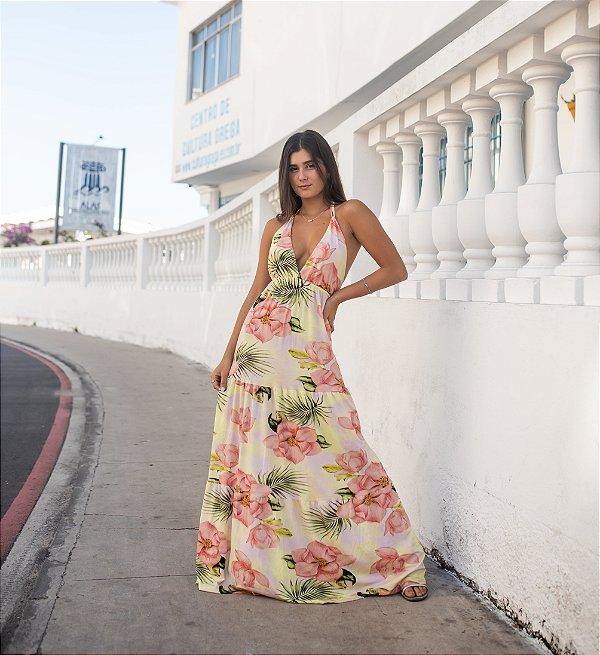 Vestido Longo Com Babado Vitória Floral Neon