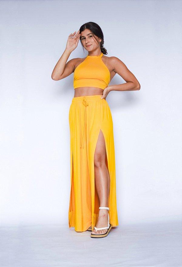 Pantalona Fenda Frontal Amarelo
