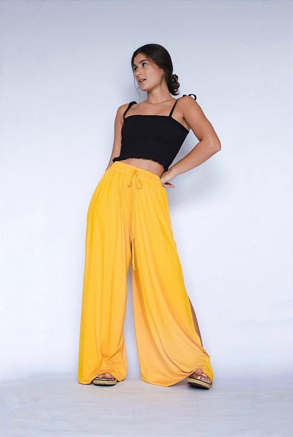 Pantalona Fenda Lateral Amarelo