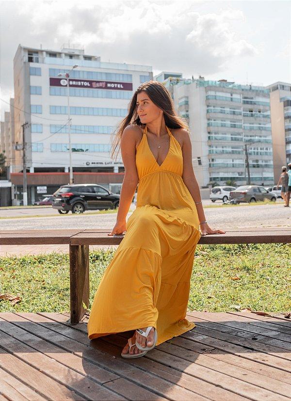 Vestido Longo Com Babado Vitória Amarelo