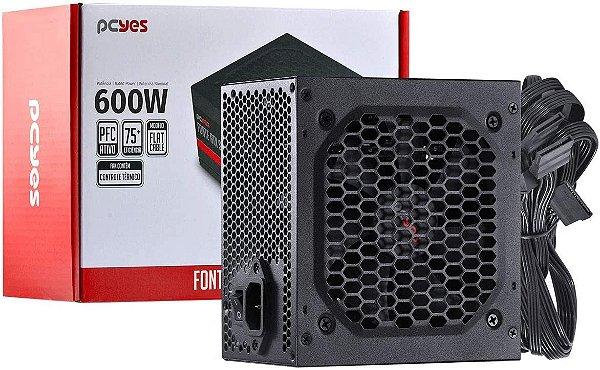 FONTE ATX 600W REAL SPARK PXSP600WPT PFC ATIVO PCYES BOX