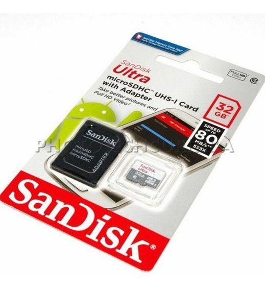CARTÃO DE MEMORIA CLASSE 10 SDSQUNS-032G-GN3MA 32GB C/ 2 MICRO SD ADAPTER SANDISK BOX