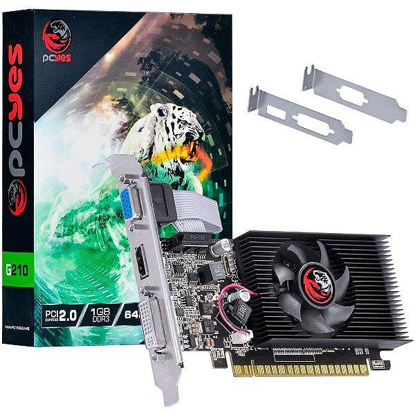 PLACA DE VIDEO 1 GB PCIEXP G210 PA210G6401D3LP 64BITS DDR3 LOW PROFILE PCYES BOX