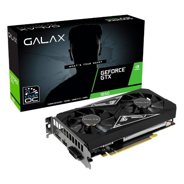 PLACA DE VIDEO 4GB PCIEXP GTX 1650 EX PLUS 65SQL8DS93E1 128BITS GDDR6 DP HDMI DVI-D GALAX BOX