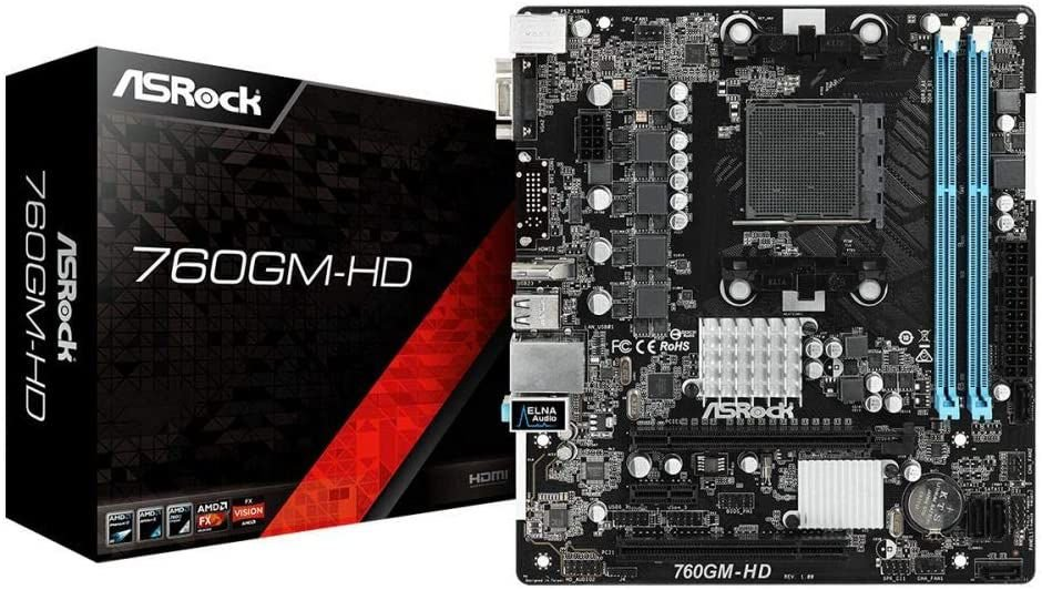 PLACA MAE AM3 MICRO ATX 760GM-HD DDR3 VGA/HDMI ASROCK BOX