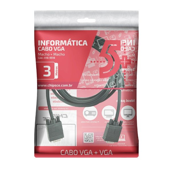 CABO VGA 3M MACHO X MACHO 018-9518 5+ BOX