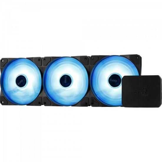 COOLER FAN P/ GABINETE 120MM P7-F12 PRO TRIPLO RGB C/ CONTROLADOR AEROCOOL BOX