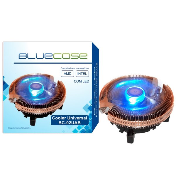 COOLER UNIVERSAL P/PROCESSADOR BC-02UAB LED AZUL BLUECASE BOX