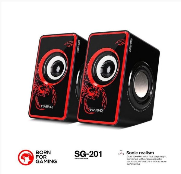 CX. DE SOM SG-201 3.5 W 2.0 CANAIS SCORPION RED MARVO BOX
