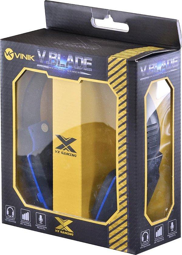 FONE DE OUVIDO HEADSET GAMER V BLADE LINHA VX PRETO/AZUL VINIK BOX