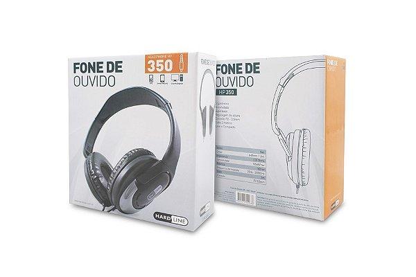 FONE DE OUVIDO HP-350 SILVER PRETO / PRATA HARDLINE BOX