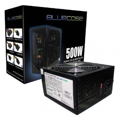 FONTE ATX 500W REAL BLU 500 ATX C/ CABO BLUECASE BOX