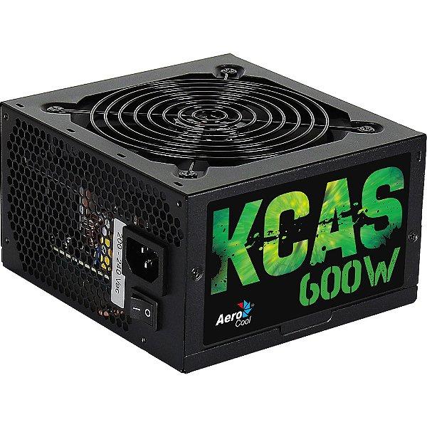 FONTE ATX 600W REAL 20/24 PINOS KCAS-600W 80 PLUS BRONZE AEROCOOL BOX