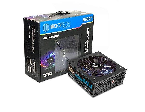 FONTE ATX 650W REAL 20/24 PINOS 3*SATA 3* IDE HOOPSON BOX