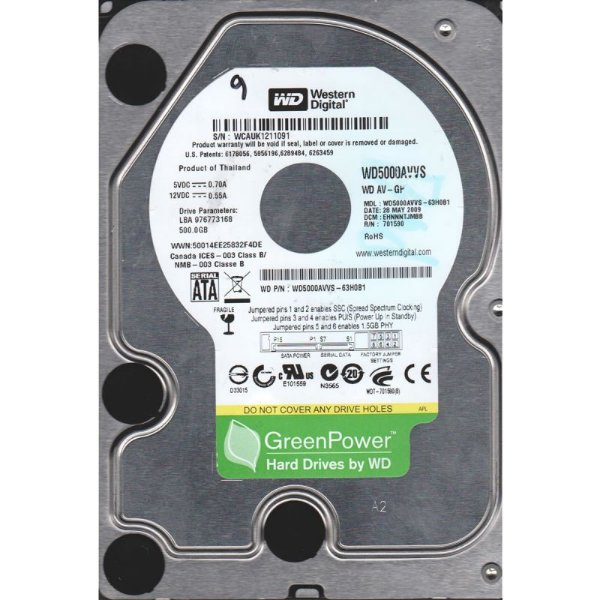 HD 500GB SATA2 3.0GBPS WD5000AVVS 7200RPM WESTERN DIGITAL BOX
