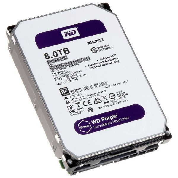 HD 8000GB SATA 6.0 GB/S WD80PURZ 5400RPM PURPLE SURVEILLANCE WESTERN DIGITAL BOX