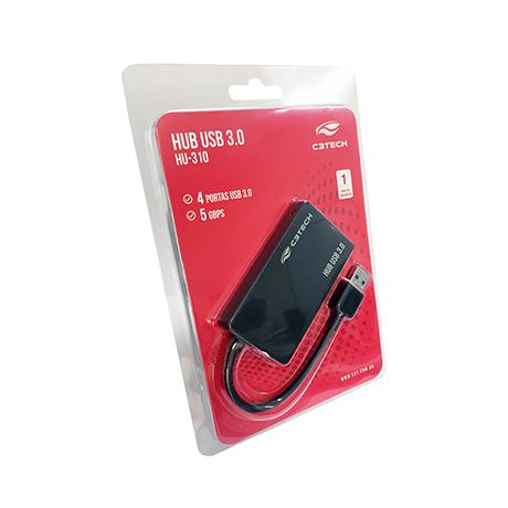 HUB USB 3.0 4 PORTAS HU-310BK C3TECH BOX