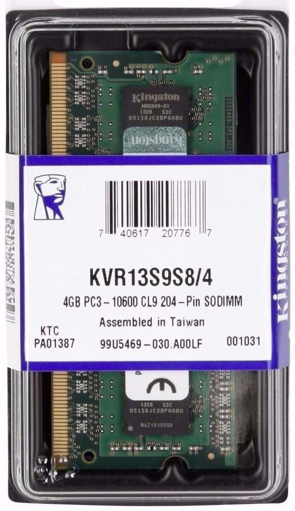 MEMORIA 4GB DDR3 1333 MHZ KVR13S9S8/4 8CP NOTEBOOK KINGSTON BOX