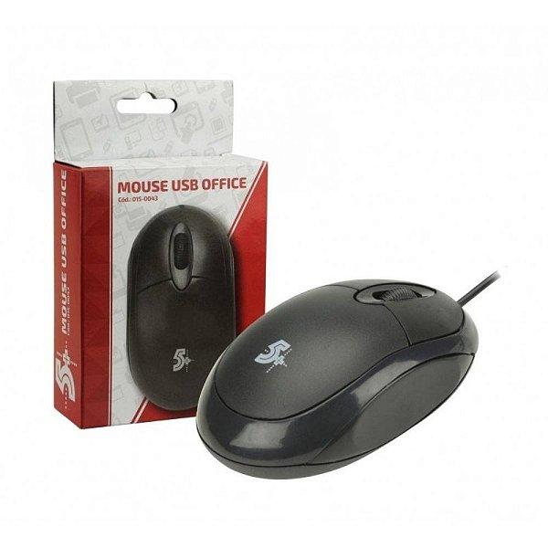 MOUSE USB 015-0043 1000 DPI PRETO 5+ OFFICE BOX