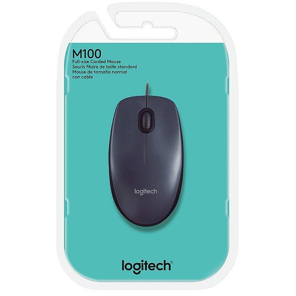 MOUSE USB M100 1000 DPI OPTICO 3 BOTOES COM SCROLL PRETO LOGITECH BOX