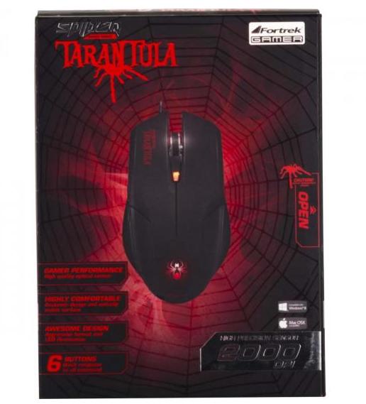 MOUSE USB OM-702 TARANTULA 2000 DPI ÓPTICO GAMER PRETO/VERMELHO 54623 FORTREK BOX