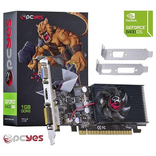 PLACA DE VIDEO 1 GB PCIEXP 8400GS N84S1GD264LP 64BITS DDR2 LOW PROFILE VGA/HDMI/DVI PCYES BOX
