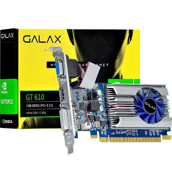 PLACA DE VIDEO 1 GB PCIEXP GT 610 61TGS4HX2LTZ 64BITS DDR3 GALAX GEFORCE BOX