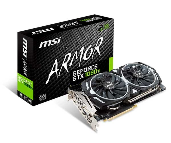 PLACA DE VIDEO 11GB PCIEXP GTX 1080 TI 912-V360-010 352 BITS ARMOR MSI BOX