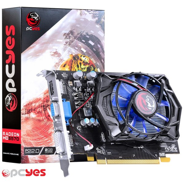 PLACA DE VIDEO 2GB PCIEXP 6570 PPV657012802D5 128BITS DDR5 RADEON PCYES BOX