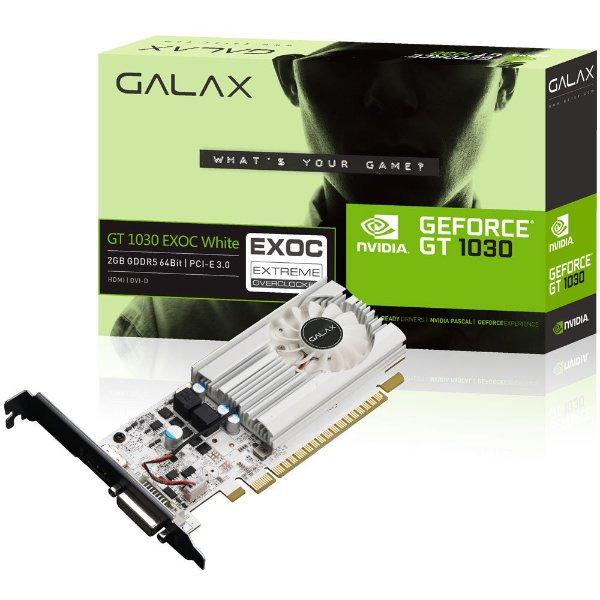 PLACA DE VIDEO 2GB PCIEXP GT 1030 30NPH4HVQ5EW 64BITS GDDR5 NVIDIA GALAX BOX