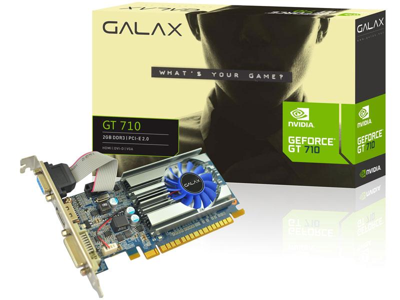 PLACA DE VIDEO 2GB PCIEXP GT 710 71GPH4HXJ4FN 64BITS GDDR3 GEFORCE MAINSTREAM GALAX BOX