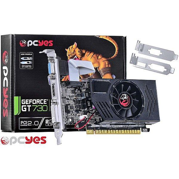 PLACA DE VIDEO 2GB PCIEXP GT 730 PGT73012802D3 128BITS DDR3 GEFORCE LOW PROFILE PCYES BOX