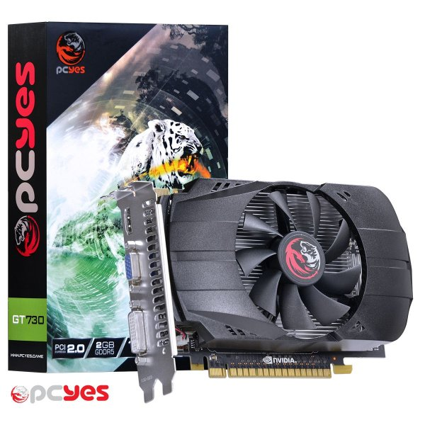 PLACA DE VIDEO 2GB PCIEXP GT 730 PV73012802D5 128BITS GDDR5 PCYES BOX