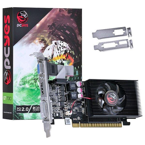 PLACA DE VIDEO 2GB PCIEXP GT 730 PW730GT12802D3LP 128BITS DDR3 GEFORCE PCYES BOX