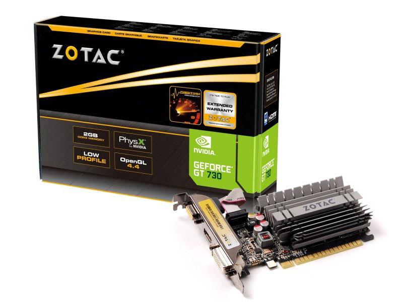 PLACA DE VIDEO 2GB PCIEXP GT 730 ZT-71105-10BB 64BITS DDR3 NVIDIA GT MAINSTREAM ZOTAC BOX