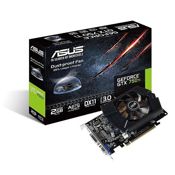 PLACA DE VIDEO 2GB PCIEXP GTX 750TI GTX750TI-PH-2GD5 128BITS GDDR5 GEFORCE NVIDIA ASUS BOX