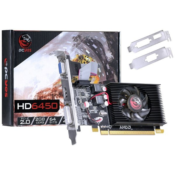 PLACA DE VIDEO 2GB PCIEXP HD 6450 PJ64506402D3LP 64BITS DDR3 RADEON PCYES BOX