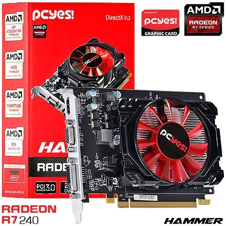 PLACA DE VIDEO 2GB PCIEXP R7 240 HAMMER PH24012802D3 128BITS DDR3 RADEON PCYES BOX