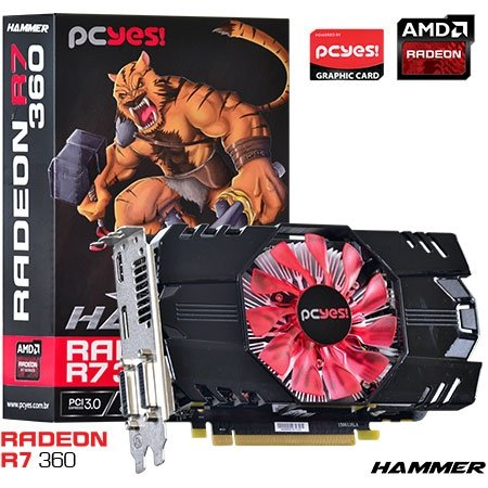 PLACA DE VIDEO 2GB PCIEXP R7 360 O360PFB2CR 128BITS GDDR5 RADEON PCYES BOX