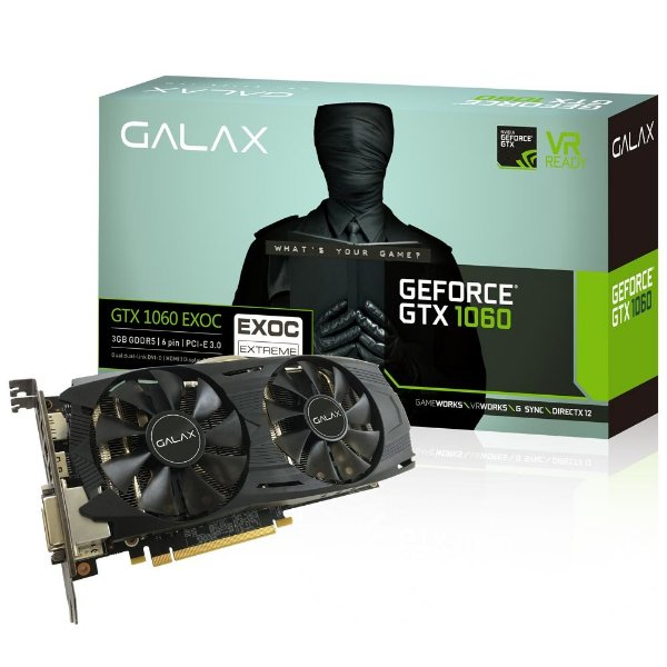 PLACA DE VIDEO 3GB PCIEXP GTX 1060 60NNH7DVM6O3 192 BITS GDDR5 GALAX BOX