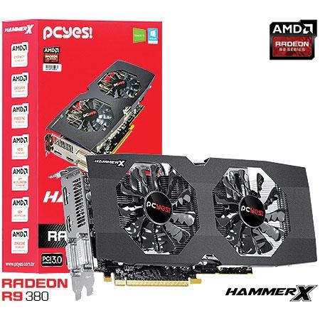 PLACA DE VIDEO 4GB PCIEXP 0380QM4GD R9 380 HAMMER X 256BITS GDDR5 PCYES BOX