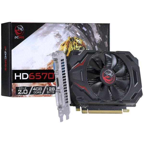 PLACA DE VIDEO 4GB PCIEXP 6570 PJ657012804D3 128BITS DDR3 RADEON VGA/HDMI/DVI PCYES BOX
