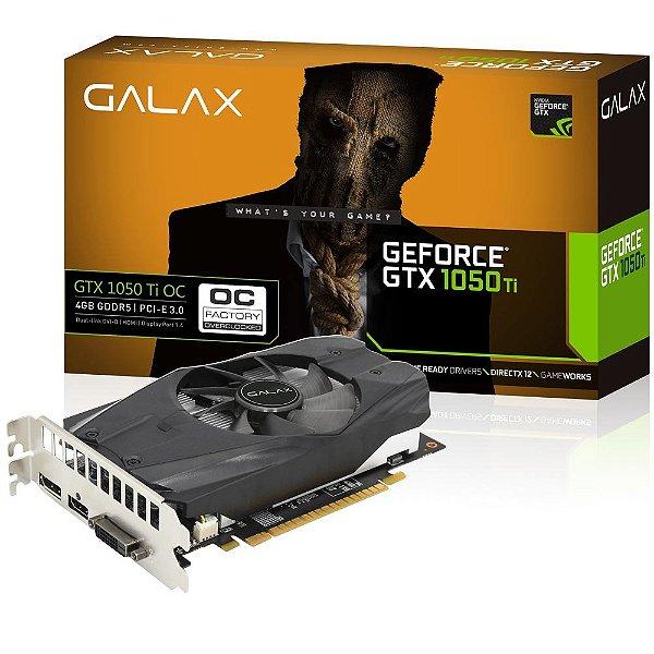 PLACA DE VIDEO 4GB PCIEXP GTX 1050 TI OC 50IQH8DSN8OC 128BITS GDDR5 GALAX BOX