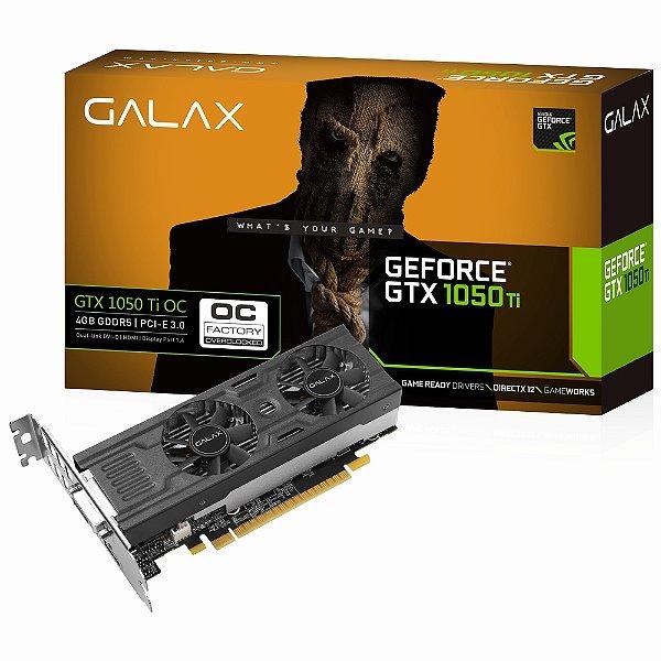 PLACA DE VIDEO 4GB PCIEXP GTX 1050 TI OC 50IQH8DSP2MN 128BITS GDDR5 GEFORCE GALAX BOX